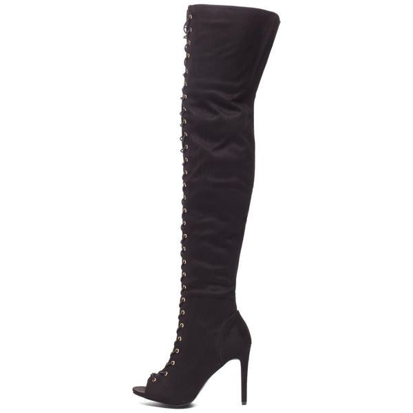 Corset For Success Black Peep-Toe Over-The-Knee Boot - Citi Trends