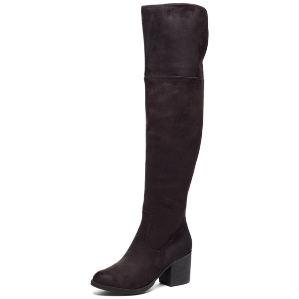 Stacked In Your Favor Black Over-The-Knee Riding Boot - Citi Trends Shoes - Front