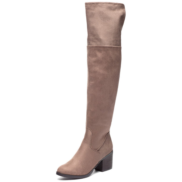 Stacked In Your Favor Taupe Over-The-Knee Riding Boot - Citi Trends Shoes - Front
