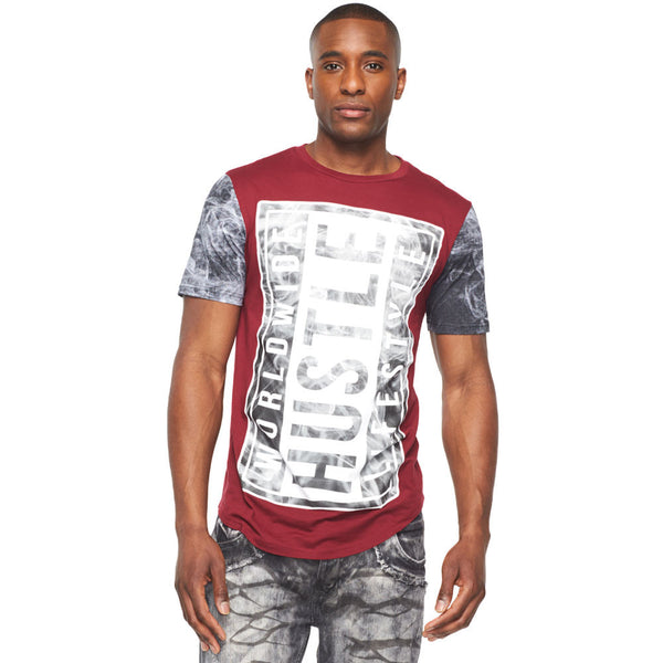 Worldwide Hustle Lifestyle Burgundy Graphic Tee - Citi Trends Mens - Front