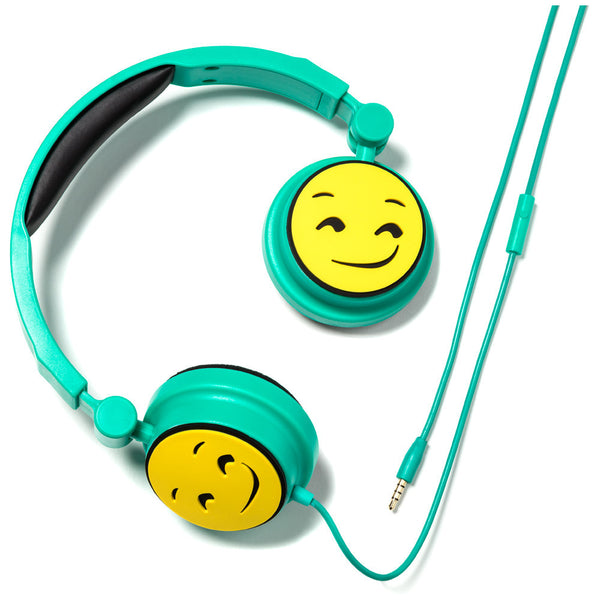 Show Your Emoji Smirk Face Stereo Headphones With In-Line Microphone - Cititrends Home - Front