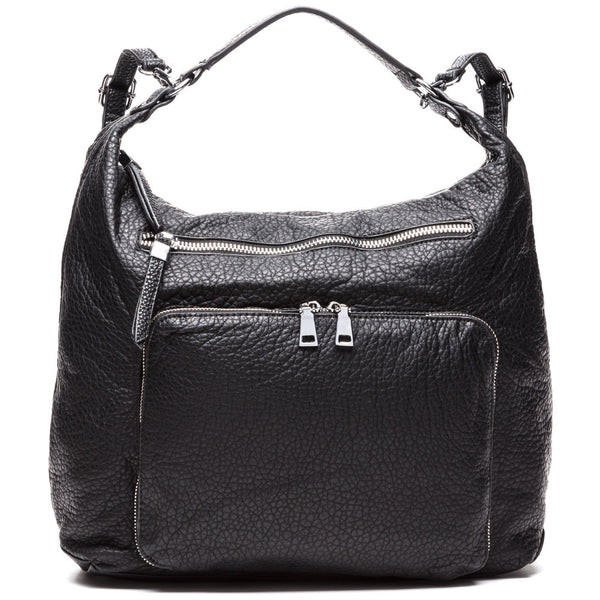 Polished Utility Black Convertible Hobo Backpack - Citi Trends Accessories - Front