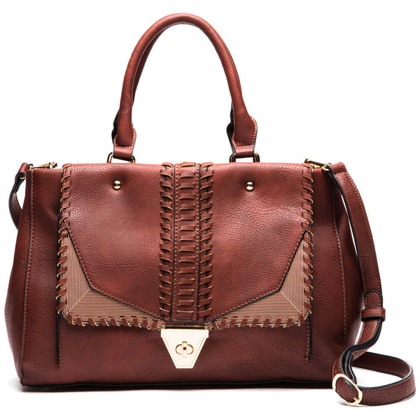 Beauty At The Seams Whipstitch Satchel - Citi Trends Accessories - Front