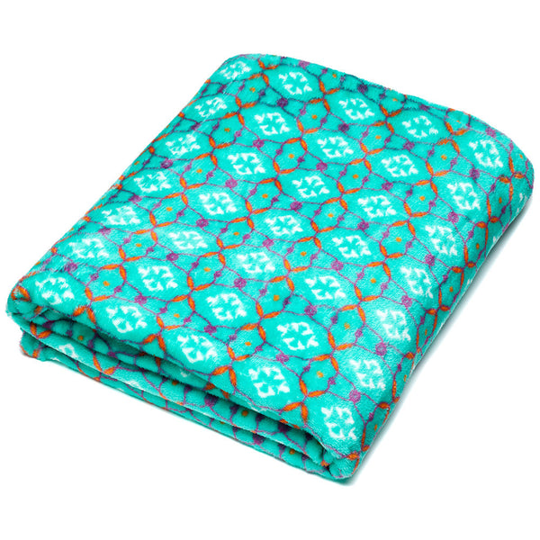 Snuggle Session Turquoise Velvet Throw Blanket - Citi Trends Accessories - Front