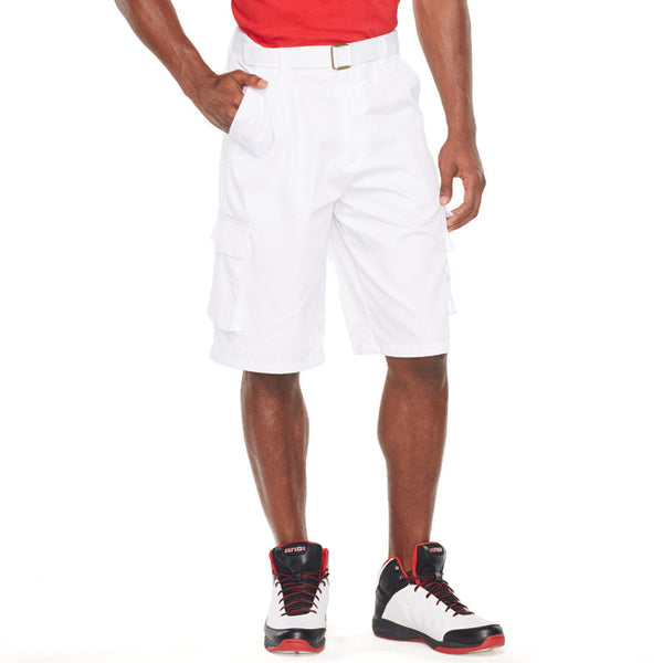 In The Pocket White Belted Cargo Short - Citi Trends Mens - Front