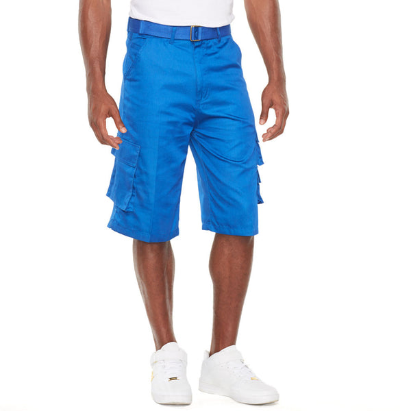 In The Pocket Royal Blue Belted Cargo Short - Citi Trends Mens - Front