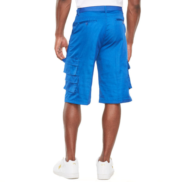 In The Pocket Royal Blue Belted Cargo Short - Citi Trends Mens - Back