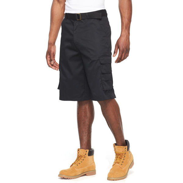 In The Pocket Black Belted Cargo Short - Citi Trends Mens - Front