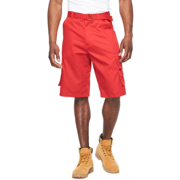 In The Pocket Red Belted Cargo Short - Citi Trends Mens - Front