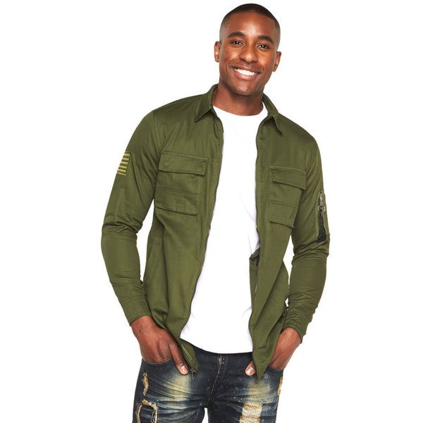 In Command Olive Military Zippered Shirt - Citi Trends Mens - Front
