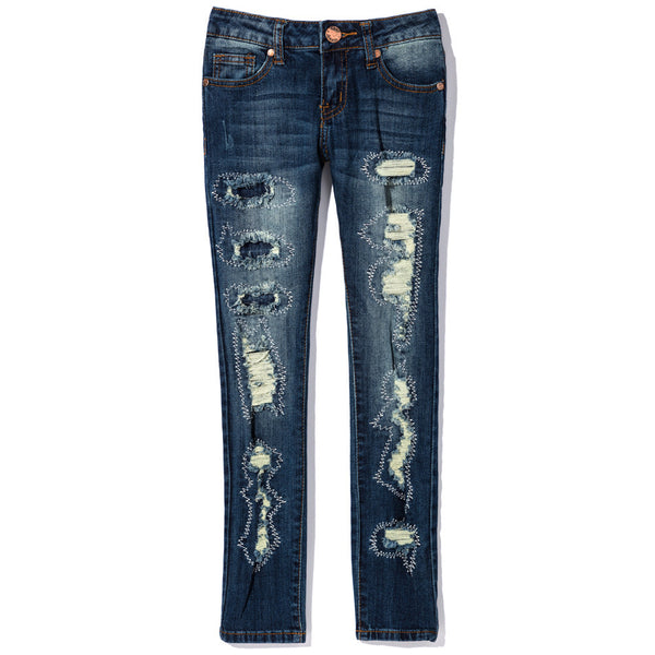 The Stitching Hour Girls Rip And Repair Skinny Jean - Citi Trends Girls - Front