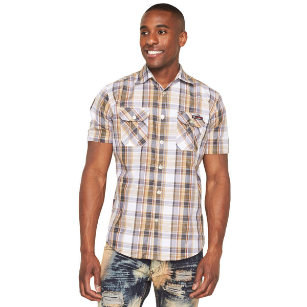 Plaid Reaction Khaki Button-Up - Citi Trends Mens - Front