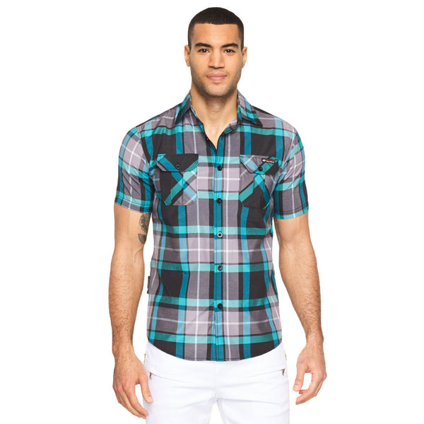 Plaid Reaction Turquoise Button-Up - Citi Trends Mens - Front