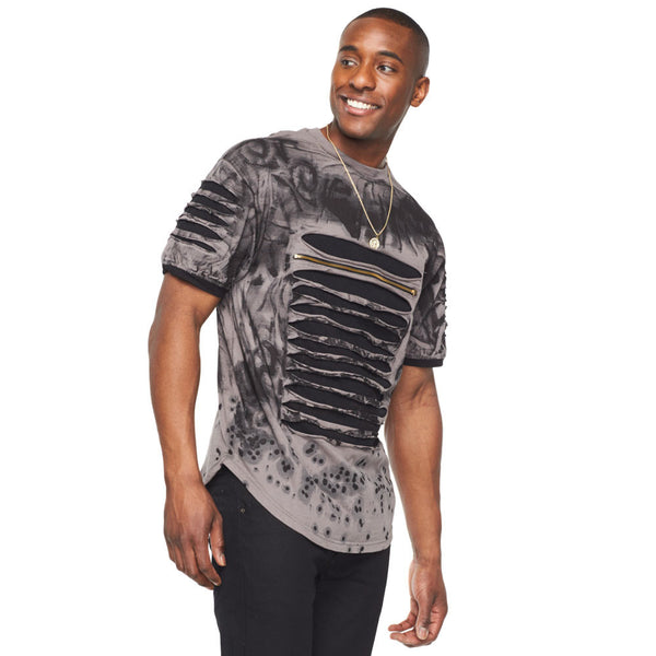 Slash To It Black Acid Wash Tee - Citi Trends Mens - Front
