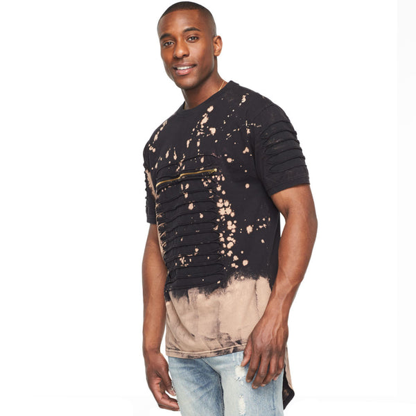 Slash Your Style Brown Acid Wash Tee With Fishtail Hem - Citi Trends Mens - Front