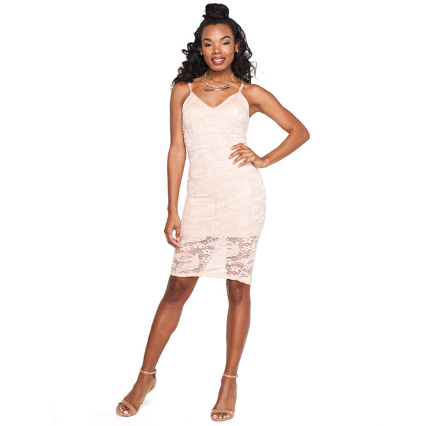 The Case For Lace Blush Midi-Length Bodycon - Citi Trends Ladies - Front