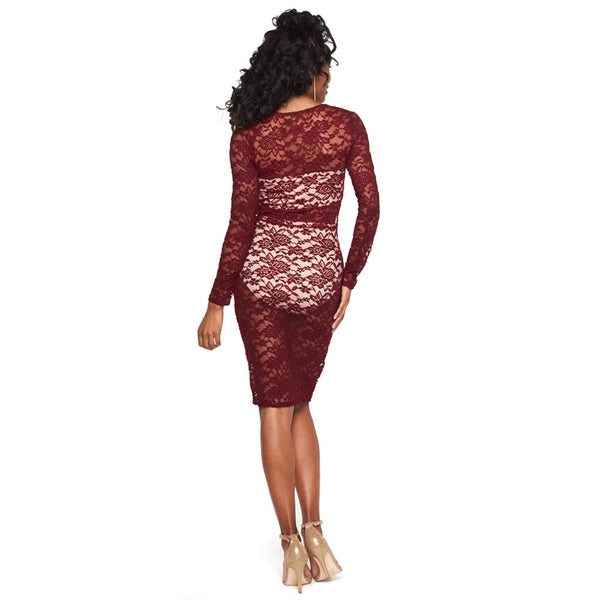 Ready, Set, Stun Burgundy Lace Midi-Length Bodycon - Citi Trends Ladies - Back