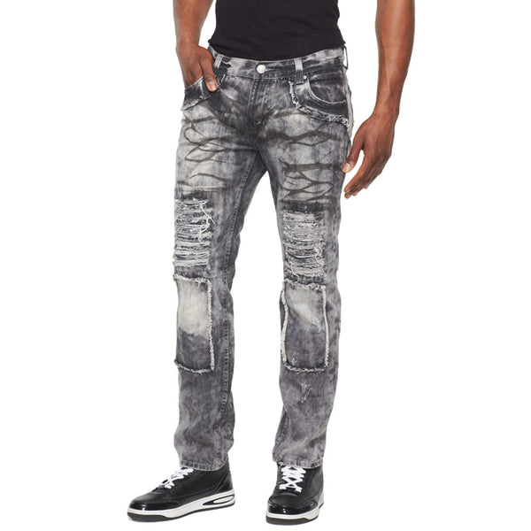 A Crinkle In Time Black Rip And Repair Jean - Citi Trends Mens - Front