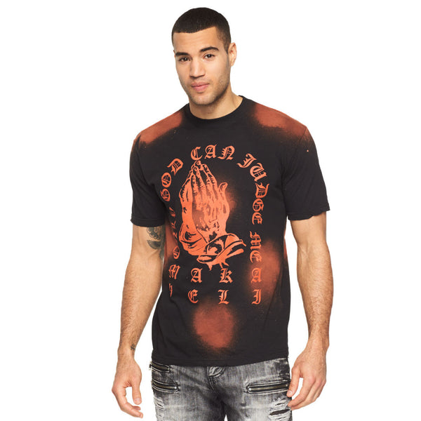Feeling Blessed Black Bleached Graphic Tee - Citi Trends Mens - Front