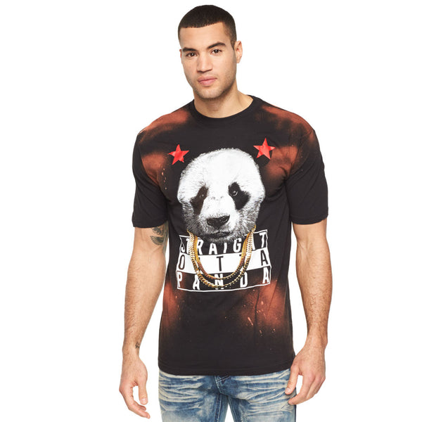 Straight Outta Panda Bleached Graphic Tee - Citi Trends Mens - Front