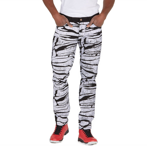 Ahead Of The Pack Black/White Painted Denim Jean - Citi Trends Mens - Front