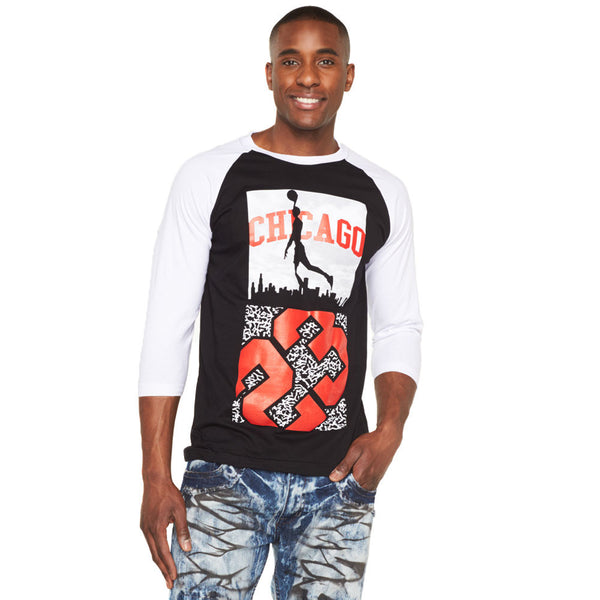 Chi-Town Unlimited Black/White Graphic Baseball Tee - Citi Trends Mens - Front