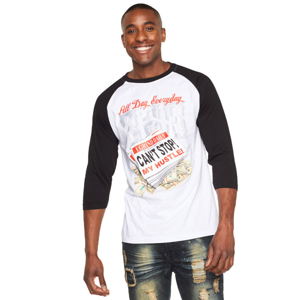 Can't Stop My Hustle White/Black Graphic Baseball Tee - Citi Trends Mens - Front