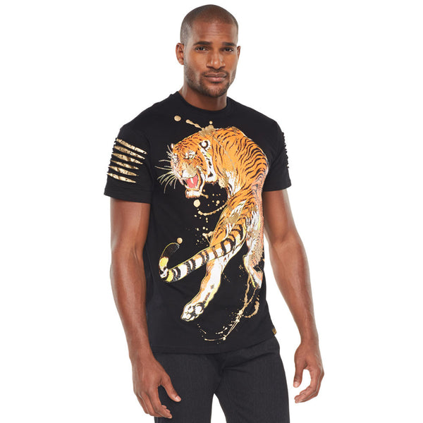 Into The Jungle Black Studded Tee Shirt  - Citi Trends Mens - Front