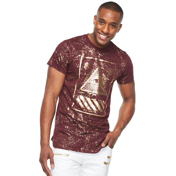 Eye See You Burgundy Metallic Gold Graphic Tee - Citi Trends Mens - Front