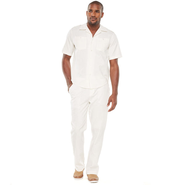 Linen Refresh Ivory Button-Front Pant Set - Citi Trends Mens - Front