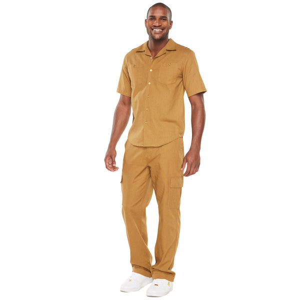 Linen Refresh Bronze Button-Front Cargo Pant Set - Citi Trends Mens - Front