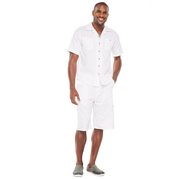 Linen Refresh Ivory Button-Front Cargo Short Set - Citi Trends Mens - Front