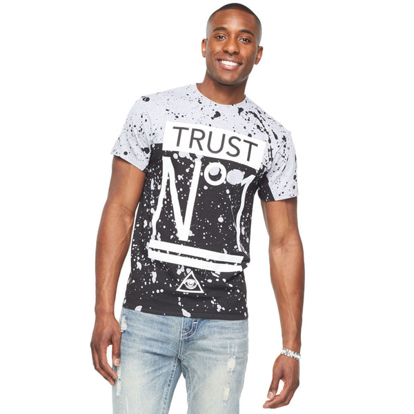 Trust No1 Heather Grey/Black Paint Splatter Tee - Citi Trends Mens - Front