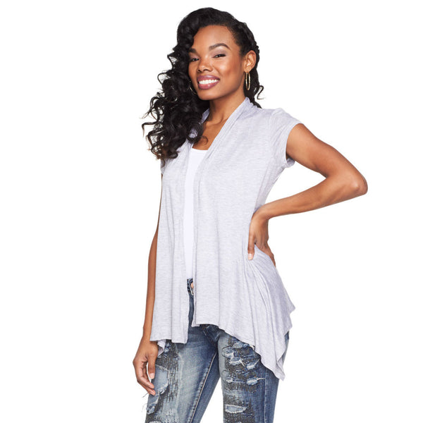 The Sleek Factor Gray Cardigan - Citi Trends Plus and Juniors - Front