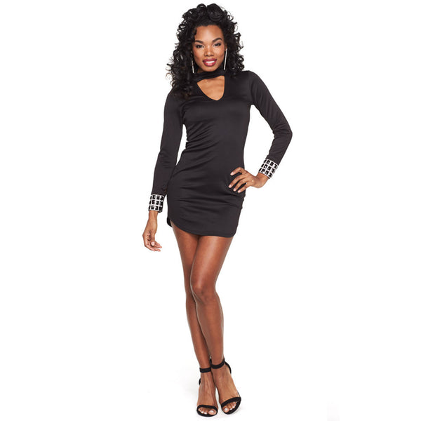 Sleek And Sexy Black Bodycon Dress With Jeweled Cuff - Citi Trends Ladies - Front