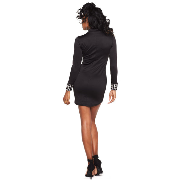 Sleek And Sexy Black Bodycon Dress With Jeweled Cuff - Citi Trends Ladies - Back