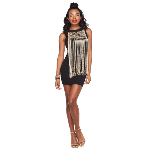 On The Fringe Black Bodycon With Attached Necklace - Citi Trends Ladies and Plus - Front