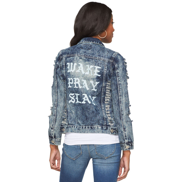 Wake, Pray, Slay Destructed Blue Denim Jacket - Citi Trends Plus - Back