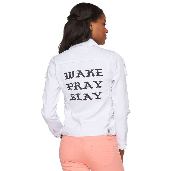 Wake, Pray, Slay Destructed White Denim Jacket