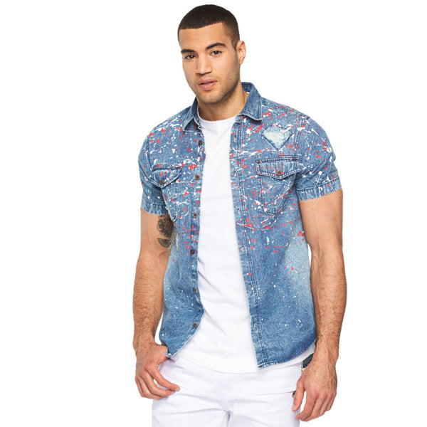 Creative Mode Distressed Paint Splatter Denim Button-Down - Citi Trends Mens - Front