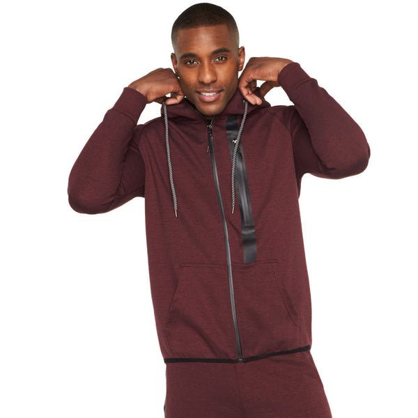 Everyday Active Burgundy Fleece Zip-Up Hoodie - Citi Trends Mens - Front