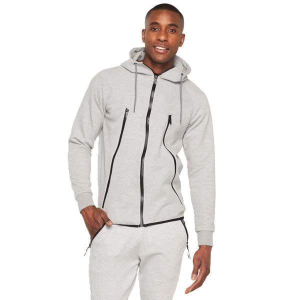 Fresh Out Heather Grey Fleece Zip-Up Hoodie - Citi Trends Mens - Front
