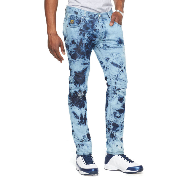 Diamond Tie Dye Wash Denim Jean - Citi Trends Mens - Front