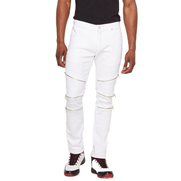 Zip Session White Stretch Moto Jean - Citi Trends Mens - Front