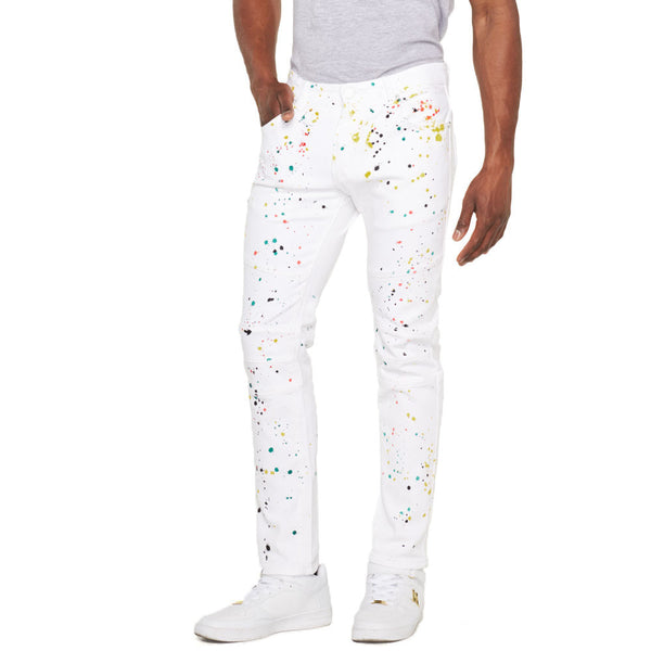 Paint The Town White Paint Splatter Jean - Citi Trends Mens - Front