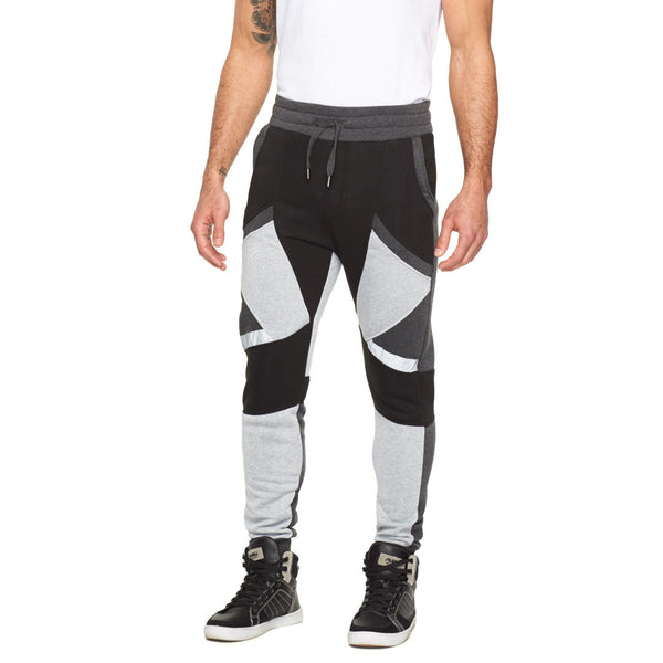Around The Colorblock Black/Grey Geometric Jogger - Citi Trends Mens - Front
