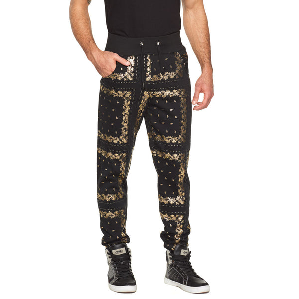 Paisley It Cool Black/Gold Jogger - Citi Trends Mens  - Front