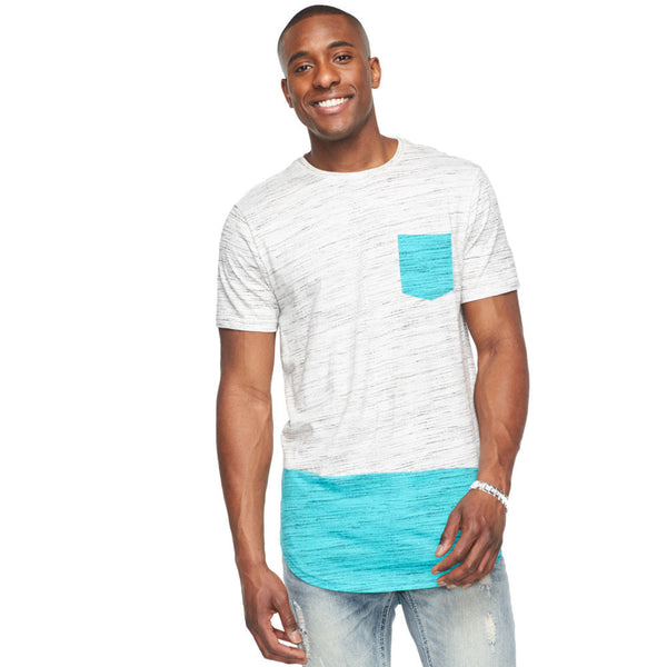 Minty Fresh Colorblock Curved Hem Tee - Citi Trends Mens - Front