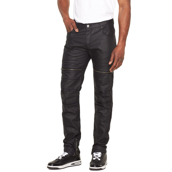 Moto-vated Black Coated Moto Jean - Citi Trends Mens - Front