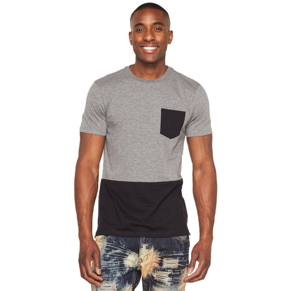 In The Pocket Grey/Black Long-Length Tee - Citi Trends Mens - Front